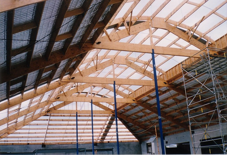 View of the supermarket roof frame